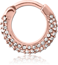 ROSE GOLD PVD COATED SURGICAL STEEL GRADE 316L ROUND JEWELED HINGED SEPTUM CLICKER