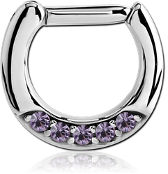 SURGICAL STEEL GRADE 316L ROUND JEWELED HINGED SEPTUM CLICKER RING