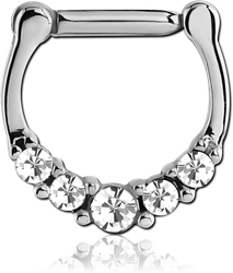 SURGICAL STEEL GRADE 316L ROUND VALUE JEWELED HINGED SEPTUM CLICKER RING