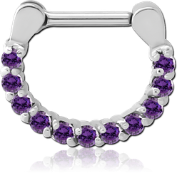 SURGICAL STEEL GRADE 316L ROUND PRONG SET JEWELED HINGED SEPTUM