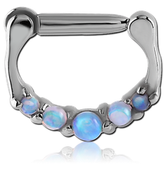 SURGICAL STEEL GRADE 316L ROUND PRONG SET JEWELED HINGED SEPTUM RING