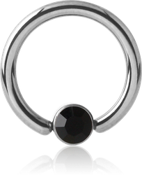TITANIUM ALLOY BALL CLOSURE RING WITH VALUE CRYSTAL JEWELED DISC