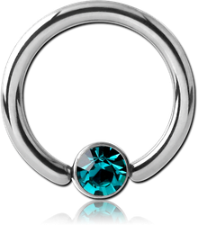 ANODISED TITANIUM ALLOY BALL CLOSURE RING WITH OPTIMA CRYSTAL JEWELED DISC