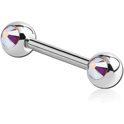 TITANIUM ALLOY DOUBLE SIDE JEWELED BARBELL