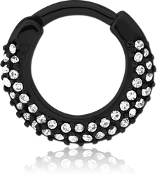 STERILE BLACK PVD COATED SURGICAL STEEL GRADE 316L ROUND JEWELED HINGED SEPTUM CLICKER