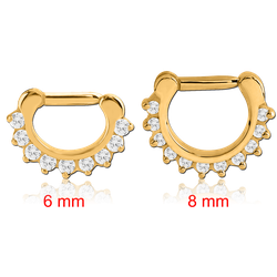 STERILE GOLD PVD COATED SURGICAL STEEL GRADE 316L ROUND PRONG SET JEWELED HINGED SEPTUM CLICKER RING