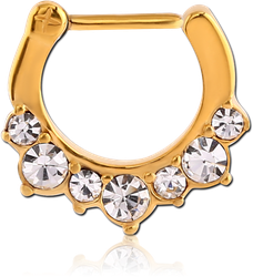 STERILE GOLD PVD COATED SURGICAL STEEL GRADE 316L ROUND JEWELED HINGED SEPTUM CLICKER