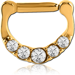 STERILE GOLD PVD COATED SURGICAL STEEL GRADE 316L ROUND SWAROVSKI CRYSTALS JEWELED HINGED SEPTUM CLICKER