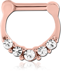 STERILE ROSE GOLD PVD COATED SURGICAL STEEL GRADE 316L ROUND JEWELED HINGED SEPTUM CLICKER
