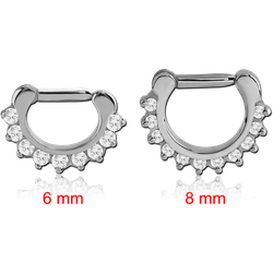 STERILE SURGICAL STEEL GRADE 316L ROUND PRONG SET JEWELED HINGED SEPTUM CLICKER RING