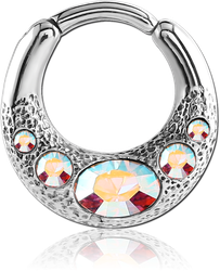 STERILE SURGICAL STEEL GRADE 316L JEWELED HINGED SEPTUM CLICKER