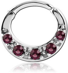 STERILE SURGICAL STEEL GRADE 316L ROUND VALUE JEWELED HINGED SEPTUM CLICKER