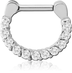 STERILE SURGICAL STEEL GRADE 316L ROUND PRONG SET JEWELED HINGED SEPTUM CLICKER