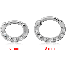 STERILE SURGICAL STEEL GRADE 316L ROUND JEWELED HINGED SEPTUM CLICKER