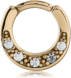 STERILE ZIRCON GOLD PVD COATED SURGICAL STEEL GRADE 316L ROUND JEWELED HINGED SEPTUM CLICKER