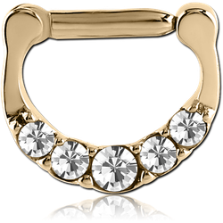STERILE ZIRCON GOLD PVD COATEDSURGICAL STEEL GRADE 316L ROUND PRONG SET JEWELED HINGED SEPTUM CLICKER