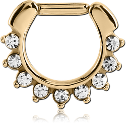 ZIRCON GOLD PVD COATED SURGICAL STEEL GRADE 316L ROUND JEWELED HINGED SEPTUM CLICKER RING