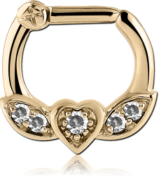 ZIRCON GOLD PVD COATED SURGICAL STEEL GRADE 316L WINGED HEART PRONG SET JEWELED HINGED SEPTUM CLICKER