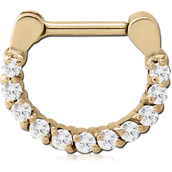 ZIRCON GOLD PVD COATED SURGICAL STEEL GRADE 316L ROUND PRONG SET JEWELED HINGED SEPTUM