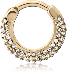 ZIRCON GOLD PVD COATED SURGICAL STEEL GRADE 316L ROUND JEWELED HINGED SEPTUM CLICKER
