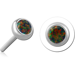 TITANIUM ALLOY SYNTHETIC OPAL JEWELED THREADLESS DISC