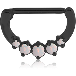 BLACK PVD COATED SURGICAL STEEL GRADE 316L PRONG SET ORGANIC SYNTHETIC OPAL NIPPLE CLICKER
