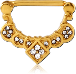 GOLD PVD COATED SURGICAL STEEL GRADE 316L JEWELED NIPPLE CLICKER - FILIGREE