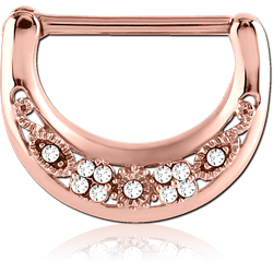 ROSE GOLD PVD COATED SURGICAL STEEL GRADE 316L SWAROVSKI CRYSTALS JEWELED NIPPLE CLICKER