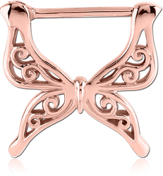 ROSE GOLD PVD COATED SURGICAL STEEL GRADE 316L NIPPLE CLICKER - BUTTERFLY