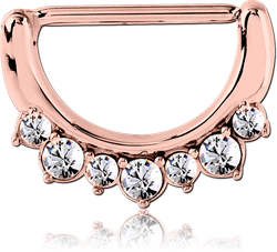 ROSE GOLD PVD COATED SURGICAL STEEL GRADE 316L JEWELED NIPPLE CLICKER