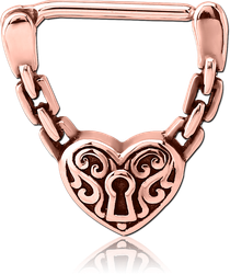 ROSE GOLD PVD SURGICAL STEEL GRADE 316L NIPPLE CLICKER - HEART