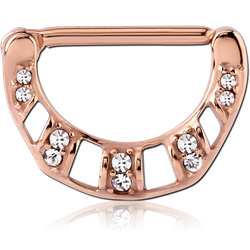 ROSE GOLD PVD COATED SURGICAL STEEL GRADE 316L JEWELED NIPPLE CLICKER - FILIGREE