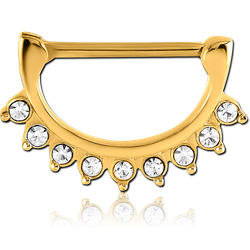 STERILE GOLD PVD COATED SURGICAL STEEL GRADE 316L JEWELED NIPPLE CLICKER