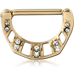 ZIRCON GOLD PVD COATED SURGICAL STEEL GRADE 316L JEWELED NIPPLE CLICKER - FILIGREE
