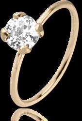 14 KARAT GOLD YELLOW SEAMLESS RING PRONG SET CZ
