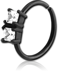 BLACK PVD COATED SURGICAL STEEL GRADE 316L JEWELED SEAMLESS RING