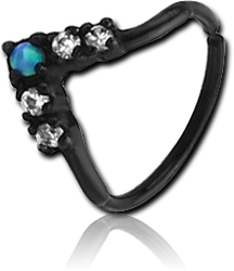 BLACK PVD COATED SURGICAL STEEL GRADE 316L SYNTHETIC OPAL SEAMLESS RING
