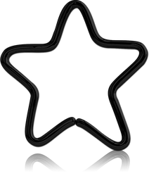 BLACK PVD COATED SURGICAL STEEL GRADE 316L OPEN STAR SEAMLESS RING