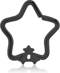 BLACK PVD COATED SURGICAL STEEL GRADE 316L OPEN STAR SEAMLESS RING - TRIPLE STAR