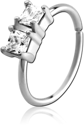SURGICAL STEEL GRADE 316L JEWELED SEAMLESS RING