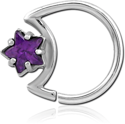 SURGICAL STEEL GRADE 316L JEWELED OPEN MOON SEAMLESS RING