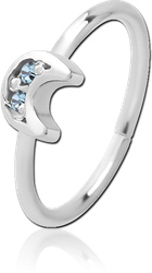 SURGICAL STEEL GRADE 316L JEWELED SEAMLESS RING - CRESCENT