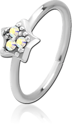 SURGICAL STEEL GRADE 316L JEWELED SEAMLESS RING - STAR