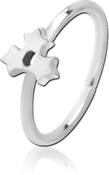 SURGICAL STEEL GRADE 316L SEAMLESS RING - TRIPLE STAR