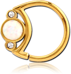 GOLD PVD COATED SURGICAL STEEL GRADE 316L JEWELED SEAMLESS RING