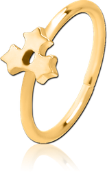 GOLD PVD COATED SURGICAL STEEL GRADE 316L SEAMLESS RING - TRIPLE STAR