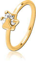 GOLD PVD COATED SURGICAL STEEL GRADE 316L JEWELED SEAMLESS RING - PAW