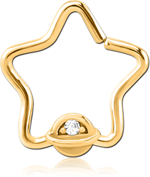 GOLD PVD COATED SURGICAL STEEL GRADE 316L JEWELED OPEN STAR SEAMLESS RING