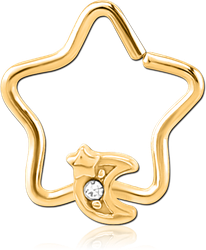 GOLD PVD COATED SURGICAL STEEL GRADE 316L JEWELED OPEN STAR SEAMLESS RING - CRESCENT AND STAR