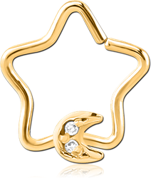 GOLD PVD COATED SURGICAL STEEL GRADE 316L JEWELED OPEN STAR SEAMLESS RING - CRESCENT